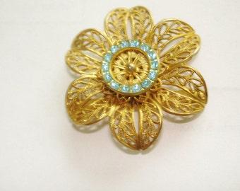Blue Rhinestone Jewelry Flower Brooch Gold Tone Filigree