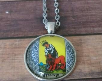 Tarot Card Necklace -- Strength