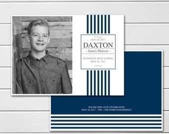 Graduation Announcement, College Graduation, Invitation High School Graduation,  Photo card, Class of 2017, School Colors, Back Side