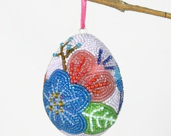 Egg Ornament Beaded Floral Easter Decoration One Of A Kind Spring Egg Tree Decor *READY TO SHIP