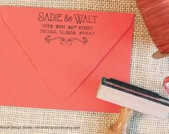 Custom Return Address Stamp 133, Whimsical Personalized Address Stamp, Cute Mailing Stamp, Couples Address Stamp, Thank You Note Stamp