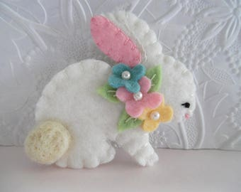 Felt Easter Bunny Brooch Pin Spring Beaded Flowers Felted Wool