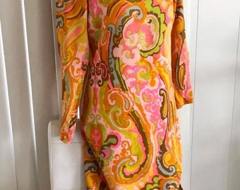 Sale Groovy Vintage Psychedelic 60's Paisley Maxi Wiggle Dress -- Size S-M