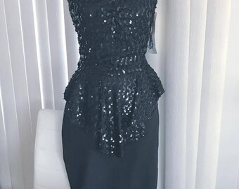 Gorgeous Vintage Glamorous Vicky Vaughn Deadstock Sequin Dress -- Size M