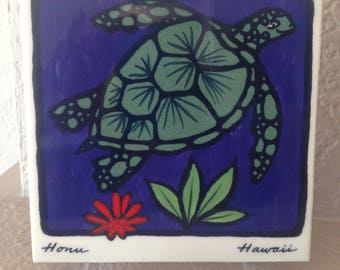"Hawaii Art Pottery Tile - Vintage Hawaiian Turtle ""Hono"" Symbol for Prosperity and Good Fortune, Handpainted on Kauai"