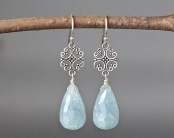 Aquamarine Earrings - Bali Silver Earrings - March Birthstone - Blue Gemstone Earrings - Wire Wrap Earrings - Special Occasion Jewelry