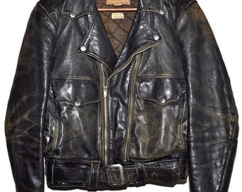 Vintage 1950s 50s APPALACHIAN Horsehide Leather Motorcycle Jacket Mens sz 36 Extremely Rare Distressed Patina