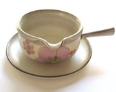 DENBY GYPSY Gravy Boat with Underplate Vintage 70s Pottery Lavender and Pink Flowers