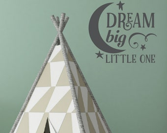 Dream Big Little One decal, nursery wall art, typography quotes, moon and stars, baby nursery decoration, stickers, vinyl lettering (HB0085)