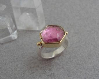 Rose Cut Watermelon Tourmaline Doublet Ring in 18k Gold and Sterling, Sparkly Pink Gemstone Ring