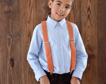 Little and Big Guy SUSPENDERS - Orange - (Newborn-Adult) - Baby Boy Toddler Teen Man