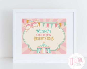 DIGITAL Pink Circus Sign, 8 x 10, Vintage Circus, Carnival Sign, Table Sign, Welcome Sign, PDF File with Editable Text, Instant Download