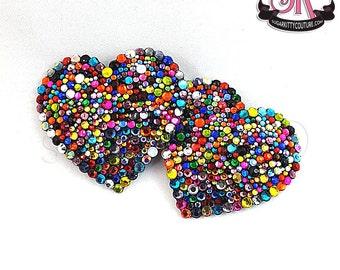 Calliope Riot Heart-Shaped Rainbow Rhinestone Nipple Pasties - SugarKitty Couture