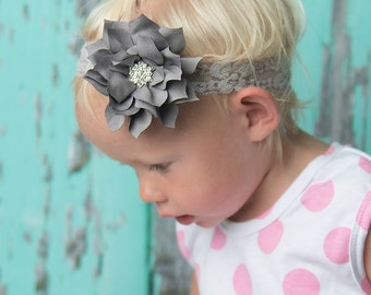 Grey flower headband, silver Elastic Headband, baby headband, baby shower gift, girl hair accessories, photography prop, wedding flower girl