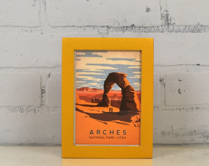 Arches National Park Utah Framed Postcard - Travel Gift Frame - Solid Shimmer Gold Finish Peewee Style - IN STOCK Same Day Shipping