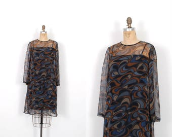 Vintage 1960s Dress / 60s Printed Silk Chiffon Babydoll Dress / Blue and Brown ( S M )