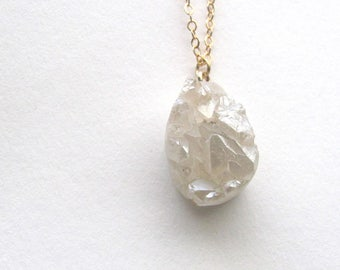 White druzy agate pendant necklace on gold plated chain, bohemian gemstone jewelry