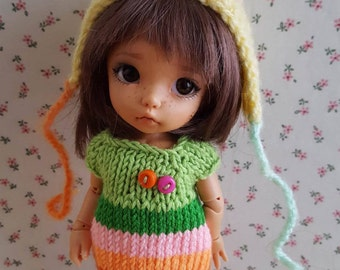 Green set dress and mohair hat for Pukifee