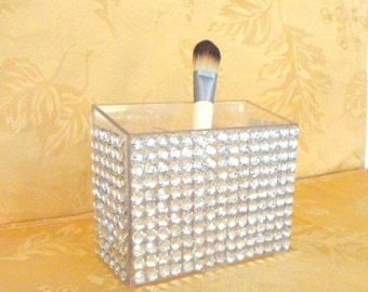 Rhinestone Bling 3 Section Makeup Brush Holder Pen And Pencil Holder Home Decor Container