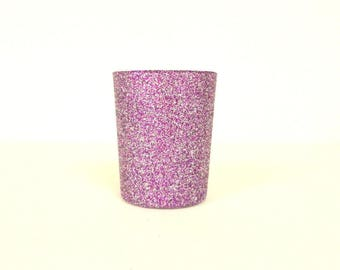 Purple and Silver Blend Glittered Votive Candle Holder, Wedding and Shower Decorations, Home Decor