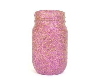 Purple and Gold Blend Glittered Pint Mason Jar, Flower Vase, Wedding Decoration, Makeup Brush Holder, Pen and Pencil Holder