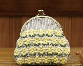 Kogin Pouch / Gamaguchi / Coin Purse Kit, Japanese Sashiko Kit, Floral Embroidery DIY Kit, Hand Embroidery, Embroidered Yellow Flower, EK270