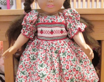 "Doll Dress for 18"" Doll, Hand-Smocked - Strawberries"