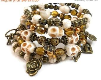 Skull Bracelet Stack, Bronze Jewelry, Gift Ideas for Teen Girls, Charm Bracelet Cuff with Skeleton Keys Locks and Roses, Skull Jewelry