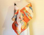 KIMONO Wedding shawl silk gold brocade white crane pink blue green pine tree orange gold size free ready to ship