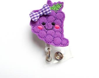Grape Badge Holder - ID Felt Badge Holder - Food Badge Reel - Nurses Badge Holder - Fruit Badge Reel - Dietitian Badge - Nutrition ID - RN