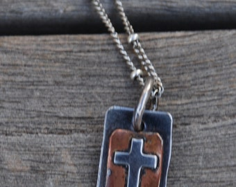FAITH and Cross Sterling and Copper DOUBLE Sided Small Charm on oxidized Sterling Silver chain with small beads hand made