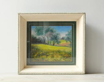 Vintage Landscape Painting, Framed Oil Painting a Meadow, Signed Art, Original Art