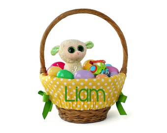 Personalized Easter Basket Liner - Yellow Big Dots - Basket not included - Personalized with name - Ships in time for Easter