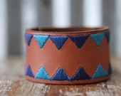 CUSTOM HANDSTAMPED CUFF   - bracelet - personalize by Farmgirl Paints - brown leather cuff with two shades of blue bunting stitching