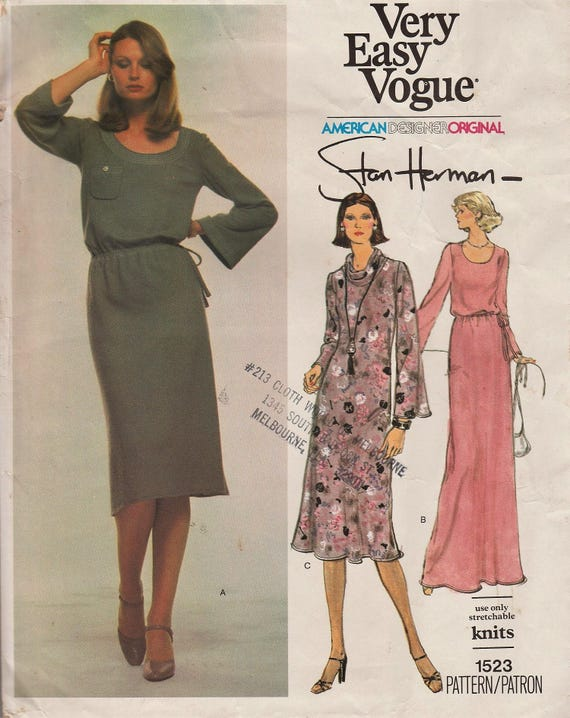 Vintage Designer Sewing Pattern by Stan Herman / Very Easy Vogue 1523 / Dress / Size 10