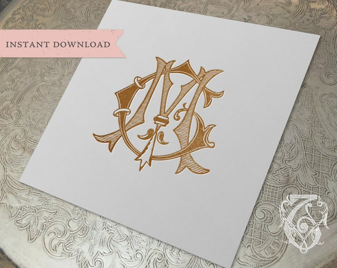 Vintage Wedding Monogram MG GM Digital Download M G
