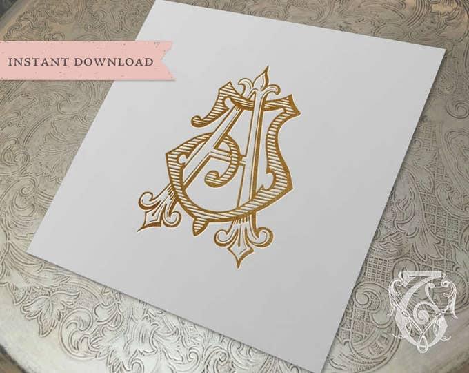 Vintage Wedding Monogram JA AJ Wedding Duogram Digital Download A J