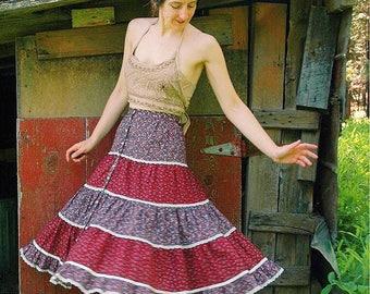 Vintage 1970s Gunne Sax Skirt... 26 Inch Waist... Vintage Boho Folk Cotton Floral Skirt... Mori Girl