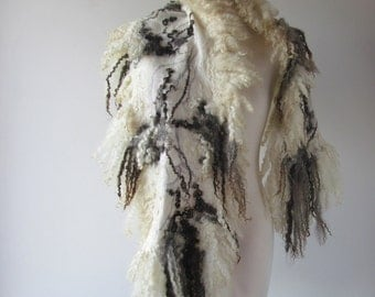 Felted scarf real fur  grey wrap fur scarf Fur stole, Grey wool shawl real Fur stole Cruelty Free fur vegetarian fur   by Galafilc