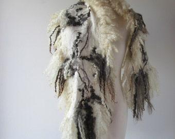 Felted scarf real fur  grey wrap fur scarf Fur stole, Grey wool shawl real Fur stole Cruelty Free fur vegetarian fur   by Galafilc