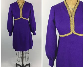Late 1960s Purple Poly Dress // Long Sleeved V Neck // Early 1970s - Gold and Purple Hippie Dress Poets Sleeves
