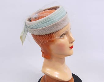 1950s -60s Pastel Hat -Lavender and blue Veiled Hat - Halo Pillbox