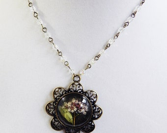 Necklace Cameo Pendant Pressed Flower Cluster in Brass and Czech Crystals