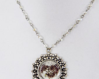 Necklace Cameo Pressed Dark Pink Wild Flower Pendant in Silver with Crystal Beaded Chain