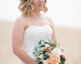 woodland flower, bridal hair flower, rustic wedding,white flower hair crown, cherry blossom flower for hair