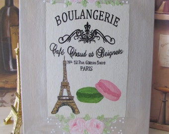 French Boulangerie Painting, Eiffel Tower Decor, HP Pink Roses, Paris Decor, French Country kitchen Bakery Shabby Chic Art, Paris Macarons