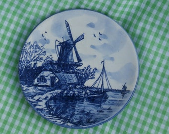 Delft Blue Wall Plate with Windmill Scene, Vintage Holland Made