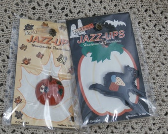 Halloween Jazz Ups Black Cat and Country Patchwork Pumpkin Plastic Flat Backs