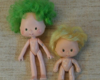 Vintage Butter Cookie Doll, Lime Chiffon Doll Strawberry Shortcake Friends, 1980s Fixer Uppers