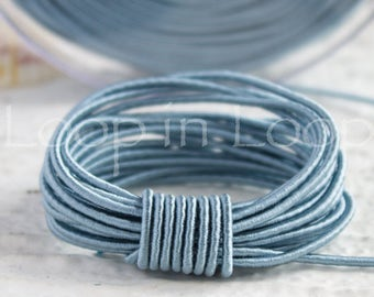 Sky Blue SILK cord, Wrapped Silk Satin Cord rope 1.5 mm thick, organic natural hand spun silk, polyester core, for Jewelry (3 feet)